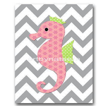 Sea Seahorse Baby Girl Nursery Decor Baby nursery print children art print Nursery Print Girl Art 8x10 rose green gray
