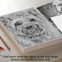 Yorkie Dog, Adult Coloring Page, instant download Coloring, Coloring Book For Adults, Best Selling Items, adult coloring book, dog art