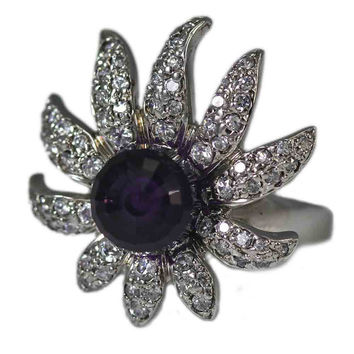Sterling Silver Flower Ring with Amethyst and Cubic Zirconia