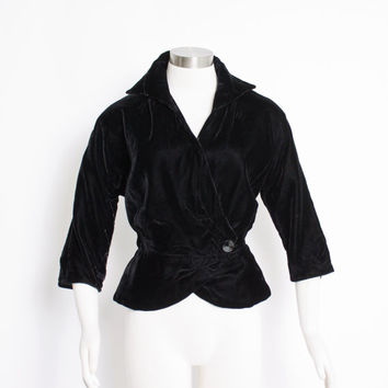 Vintage 50s Jacket - Black Velvet PEPLUM Fitted 1950s - Large