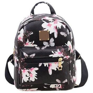 AFBS Women Backpack For School Teenagers Girls butterfly Cute PU leather back pack Canvas Printing Backpacks