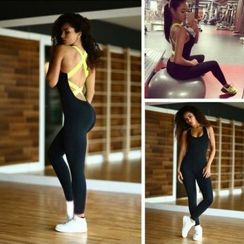 2017 New Good Quality Women Active Wear Fitness Stretch Jumpsuit 4 Colors for Choice