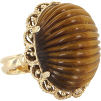 Fluted Tigers Eye Vintage Dome Cockatil Ring 14 Karat Yellow Gold Estate Jewelry Fine