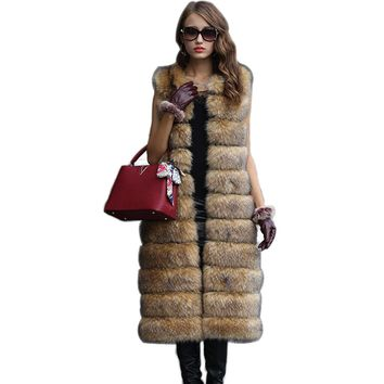NEW Winter Faux Fur Vest For Women Long Solid Female Artificial Fox Fur Vest Qualified Warm Palka Snow Overcoat