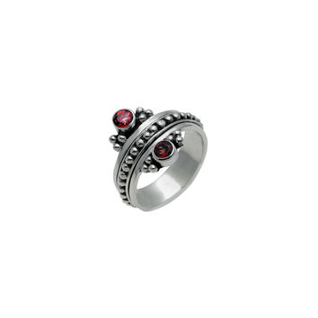 Metal Reflection Sterling Silver Garnet Spin Ring