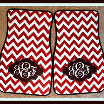 Monogrammed Gifts Car Accessories Monogrammed Car Mat Redchevron with Black Accents Chevron Personalized Car Mats Monogrammed Car Mats
