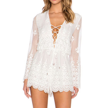 Zimmermann Lucia Silk Embroidered Romper in Ivory