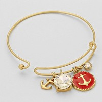 Nautical Anchor Charm Wire Bangle Bracelet