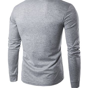 Casual Long Sleeve Henley Collar T-Shirt With Contrast Button