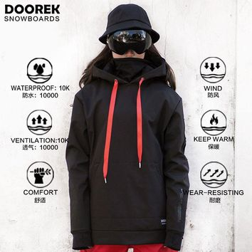 Doorek unisex Snowboarding Jackets Women men snowboard hoodie Waterproof Warm Ski Jacket Breathable Clothes Hooded Coat Outwear