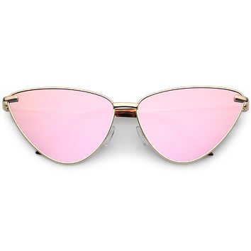 Oversize Thin Cat Eye Mirrored Flat Lens Butterfly Frame Sunglasses C202