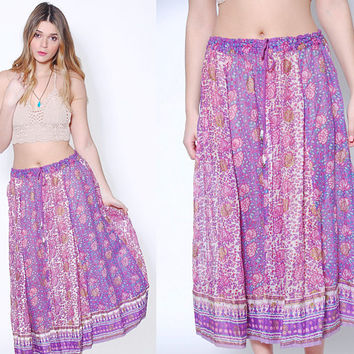 Vintage 70s INDIAN Cotton Skirt Lavender BLOCK Print Floral Skirt DEADSTOCK Hippie Skirt Boho Maxi Skirt Festival Skirt