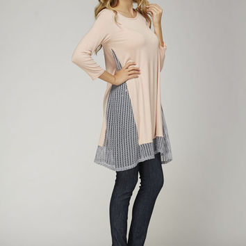 12PM by Mon Ami Blush Pink Tunic Dress with Gray Mesh Inserts