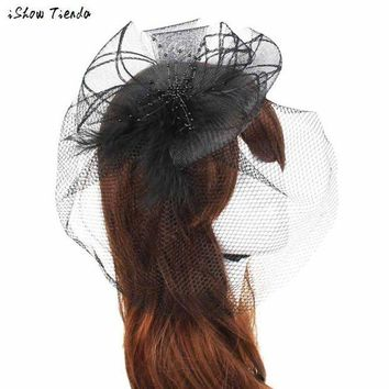 ONETOW Women Headwear Wedding Fascinator Veil Feather Hard Yarn Headband Hats Women Brides Hair Accessories