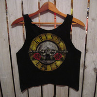 Guns N Roses, Crop Top Tank, Reconstructed Retro T-Shirt, FINISHED EDGES,  Size Small