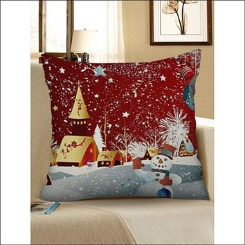 Merry Christmas Snowman Printed Linen Pillowcase - Red Wine W18 X L18 Inch