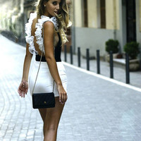 "ROMANTIC Backless ""Whipped Cream"" bodysuit in black colour with white tulle!!!"