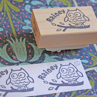 Hand Carved Mounted Owl stamp with your name