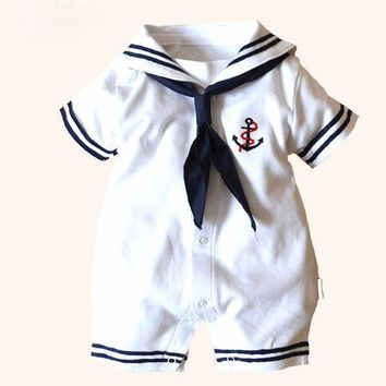 Summer Baby Cotton Rompers Clothes Navy Sailor Uniforms Short Sleeve One-pieces Jumpsuit Babies Boys Girls Clothing Presents New