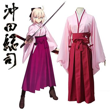 Anime FGO Fate Grand Order Sakura Saber Okita Souji Kendo Uniform Cosplay Costume Full Set Kimono Halloween Outfit