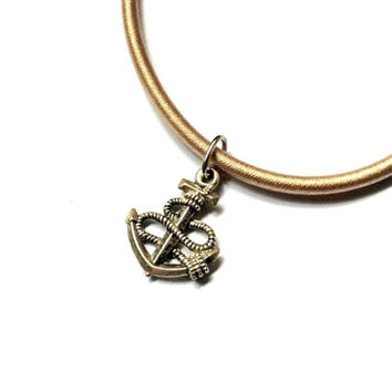anchor charm in nude cord necklace, nautical jewelry