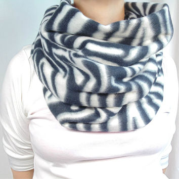 Oversized Infinity Scarf, Fleece Scarf, Zebra Scarf, Black and White Scarf, Big Chunky Scarf, Fall Winter Scarf, Animal Print Scarf, Gift