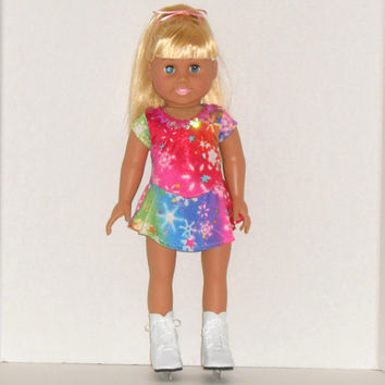American Girl Doll Clothes Rainbow Ice Skating Dress and Panties fits 18 inch Dolls