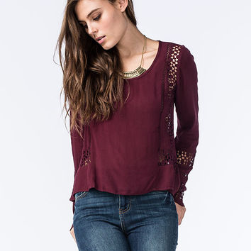 Patrons Of Peace Lace Crochet Womens Top Burgundy  In Sizes