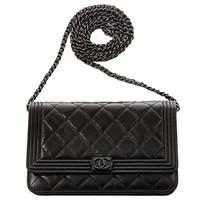 "Chanel ""So Black"" Quilted Boy Wallet On Chain (WOC)"