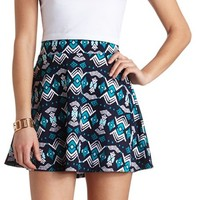 TRIBAL PRINT HIGH-WAISTED SKATER SKIRT