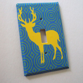 Stag Light Switch Plate Art Cover Neon Yellow Moving Target