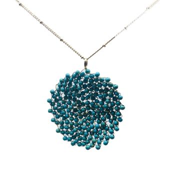 Seed Bead Swirl Pendant Necklace | 2 Colors