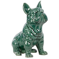 Urban Trends Ceramic Sitting French Bulldog, Gloss Turquoise