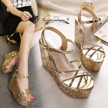 Stylish Design Summer Peep Toe Wedge Sandals = 4804964996