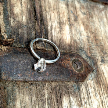 Herkimer diamond set in sterling silver ring, size 7