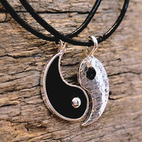 Yin Yang Split Black Silver Hippie Buddhist Spiritual Balance Friendship Necklace