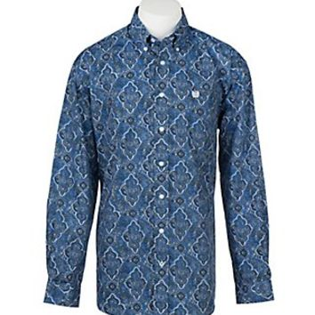 Cinch Men's White, Blue, and Teal Large Paisley Print L/S Shirt