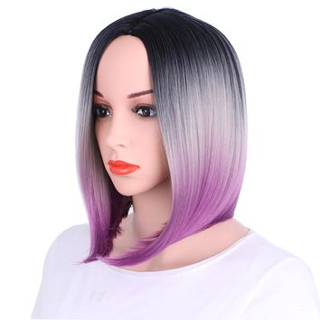 Bob Wig Gradient Synthetic  Short Straight Wigs Lace High Temperature