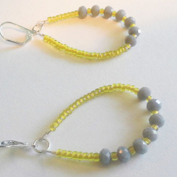 Mustard Yellow Gray Grey Hoop Earrings Leverback Seed Beads with Crystals Art Deco Colored Minimalist Inspired