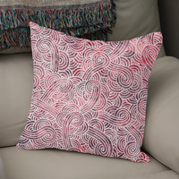 «Burgundy red and white swirls doodle», Numbered Edition Coussin by Savousepate - From 25€ - Curioos