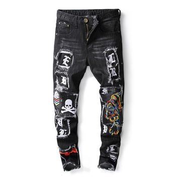 Mens Ripped Jeans Washed Distressed Denim With Tiger And Skull Embroidery