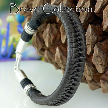 B-221 Solid Sterling Silver & Kangaroo Leather Sport Wristband Men Bracelet.