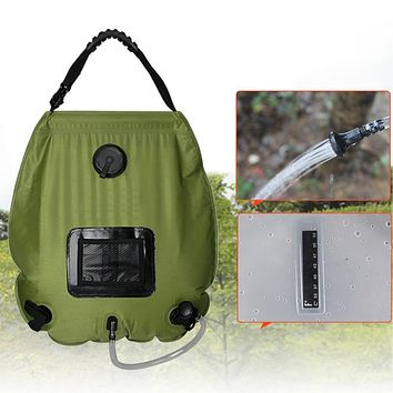 2017 new portable Outdoor camping travel Solar Shower Water Bag camp shower 20L with thermometer