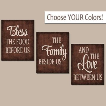 KITCHEN Wall Art, Canvas or Prints, Kitchen Quote Decor, Bless the Food, Family Love Between Us, Choose Colors Set of 3 Home Decor Pictures