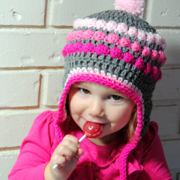 Pink Ombre Crochet Earfap Hat, Girls Winter Hat, Knit Baby Hat, Crochet Baby Hat, Pink and Gray, Ombre Baby Hat, Newborn Photo Prop, Toddler