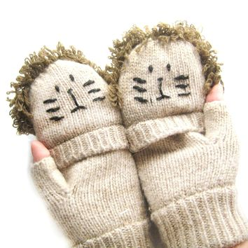 Lion Shaped Animal Themed Wool Knit Fingerless Popover Mitten Gloves for Women