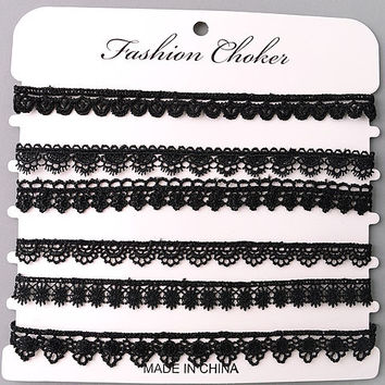Set of Scallop Crochet Lace Choker Necklaces - Black