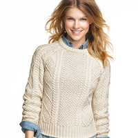 Cotton Fisherman Sweater: SWEATERS | Free Shipping at L.L.Bean
