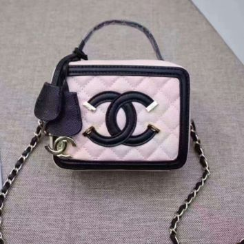 Chanel Women Shopping Leather Metal Chain Crossbody Satchel Shoulder Bag 522