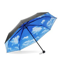 Ayygift Creative Folding Umbrella Blue Sky and White Clouds Sun UV Protection Travel (B)